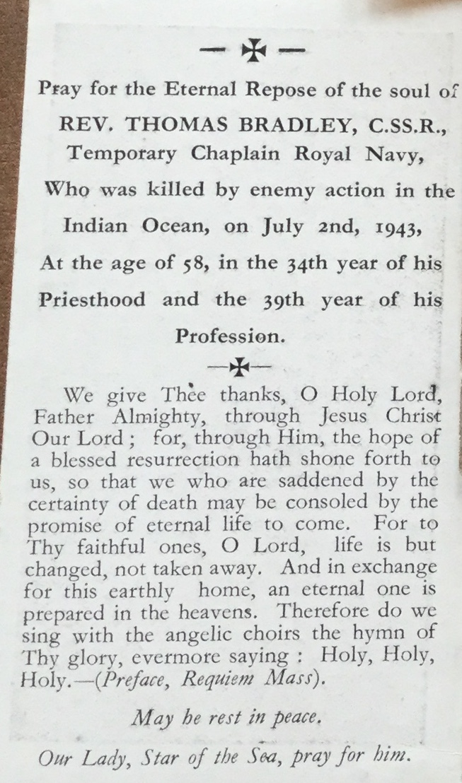 fr bradley prayer card